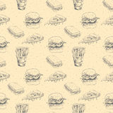 Hand drawn fast food pattern. Burger, pizza, french fries detailed illustrations. Great for restaurant menu or banner Stock Images