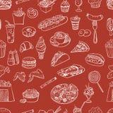 Hand drawn fast food pattern Stock Image