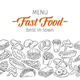 Hand drawn fast food. Seamless border pattern with fast food for menu design. Vector hand drawn illustration with snacks, hamburger, fries, hot dog, tacos vector illustration