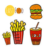 Hand drawn fast food set. Doodle street food. Fries potato, cola and burgers icon collection Royalty Free Stock Image