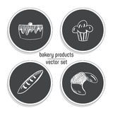Hand Drawn fast food sticker set. Blackboard Icon with chalk design. Vector illustration. Cake, cupcake, baguette and Croissant fo. R cut out Royalty Free Stock Photo