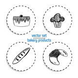 Hand Drawn fast food sticker set. Blackboard Icon with chalk design. Vector illustration. Cake, cupcake, baguette and Croissant fo. R cut out royalty free illustration