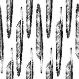Hand drawn  feather seamless Stock Images