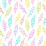 Hand drawn feather seamless pattern. Soft colored feather pattern for wrapping paper, textile, fabric, wallpaper. Stock Photo