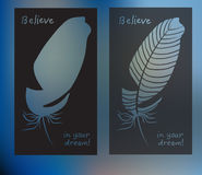 Hand drawn feathers and text card on blurred background. Vector illustration Royalty Free Stock Photography