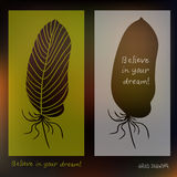 Hand drawn feathers and text card on blurred background. Vector illustration Stock Photo
