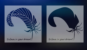 Hand drawn feathers and text card on blurred background. Vector illustration Stock Images