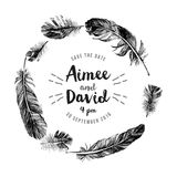 Hand drawn feathers wreath with type design Stock Photos