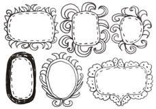 Hand drawn felp-tip pen frames. Royalty Free Stock Image
