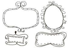 Hand drawn felp-tip pen frames. Stock Photos