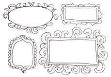Hand drawn felp-tip pen frames. Royalty Free Stock Photo