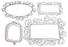 Hand drawn felp-tip pen frames. Royalty Free Stock Photo