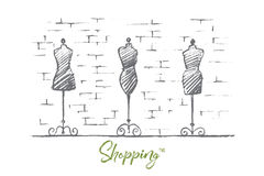 Hand drawn female body mannequins in fashion shop Royalty Free Stock Photo