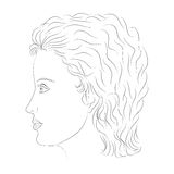 Hand Drawn Female Face in Profile. Sketch Drawing Beautiful Lady with Curly Hairs Stock Photo