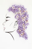 Hand drawn female profile with natural flowers hairstyle Stock Photography