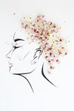 Hand drawn female profile with natural flowers hairstyle Stock Photo