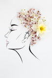 Hand drawn female profile with natural flowers hairstyle Royalty Free Stock Image