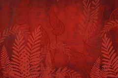 Hand drawn fern art dyed grunge background with Japanese ink antiqued style background in deep red dark edge. Grunge antiqued background dyed look with Japanese stock illustration