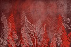 Hand drawn fern and leaf art dyed grunge background with Japanese ink antiqued style background in deep red dark edge. Grunge antiqued background dyed look with vector illustration