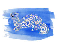 Hand drawn ferret with high details. Royalty Free Stock Image