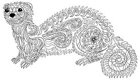 Hand drawn ferret with high details. Royalty Free Stock Images