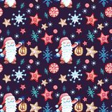 Hand drawn Festive Christmas seamless pattern in scandivanian style with gnome, snowflakes and gingerbread cookies ornament royalty free illustration