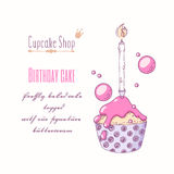 Hand drawn festive cupcake with candle and doodle buttercream for pastry shop menu. Special birthday flavor. Vector illustration Royalty Free Stock Photo