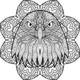 Hand-drawn figure of an eagle with patterns on the background Royalty Free Stock Photos