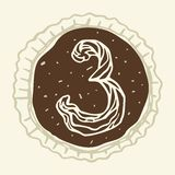 Stylized Figure 3 of the Pastry Cream. Hand-drawn figures on the background of chocolate Royalty Free Stock Photos