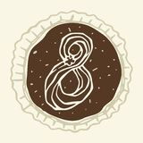 Stylized Figure 8 of the Pastry Cream. Hand-drawn figures on the background of chocolate Royalty Free Stock Photography
