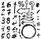 Hand drawn figures Elements symbols (arrows) set - hand drawn picture.  Royalty Free Stock Photo