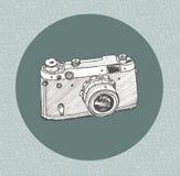 Hand drawn film camera stock illustration