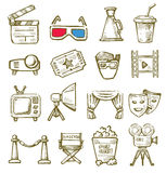 Hand drawn film. Vector hand drawn film icons set on white Stock Photos