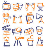 Hand drawn film. Vector hand drawn film icons set on white Royalty Free Stock Image