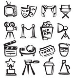 Hand drawn film. Vector hand drawn film icons set on white Royalty Free Stock Photos