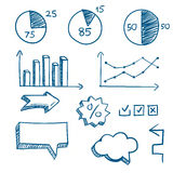 Hand-drawn finance elements. Arrows and graphics. Vector illustration Stock Photo