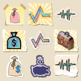 Hand drawn finance emblems set. Isolated. Stickers Stock Photography