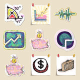 Hand drawn finance emblems set. Isolated. Stickers Stock Photos