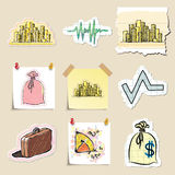 Hand drawn finance emblems set. Isolated. Stickers Royalty Free Stock Photography