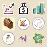 Hand drawn finance emblems set. Isolated. Stickers Stock Photo
