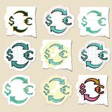 Hand drawn finance emblems set. Isolated. Stickers Stock Images