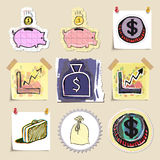 Hand drawn finance emblems set. Isolated. Stickers Royalty Free Stock Photos