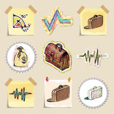 Hand drawn finance emblems set. Isolated. Stickers Royalty Free Stock Image