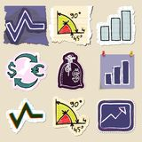 Hand drawn finance emblems set. Isolated. Stickers Royalty Free Stock Photo