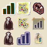 Hand drawn finance emblems set. Isolated. Stickers Royalty Free Stock Images