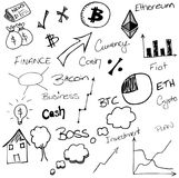 Hand drawn finance s. Crypto currency doodles. Business illustrations. Graph sketches. Ideas royalty free illustration