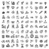 Hand drawn financial doodles set. Sketch style icons. Decoration vector illustration