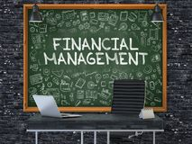 Hand Drawn Financial Management on Office Chalkboard. 3D. Hand Drawn Financial Management on Green Chalkboard. Modern Office Interior. Dark Brick Wall Stock Photography