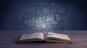 Business plan over book. Hand-drawn financial plans and charts coming out of an open book Stock Images