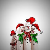 Hand drawn and finger of snowmen,as concept idea Stock Image